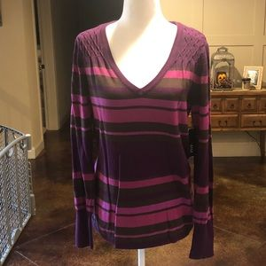a.n.a. Womens Large V-neck Tunic Sweater Purple